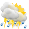 Cloudy, thunderstorm with moderate shower